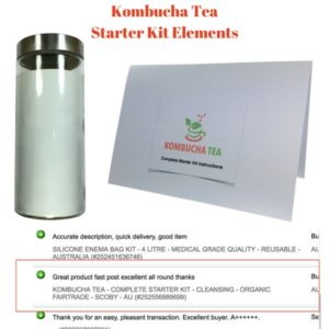 Kombucha Tea complete Starter kit Elements with positive review and Instructions